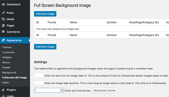 Configuration du plugin fullscreen bg image