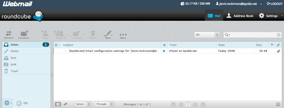 Messagerie email cpanel compte