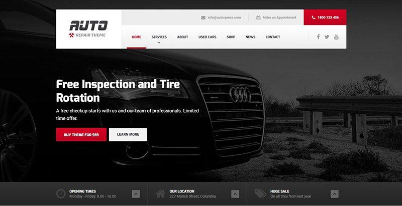 thèmes WordPress pour créer un site Web de garage automobile - Auto
