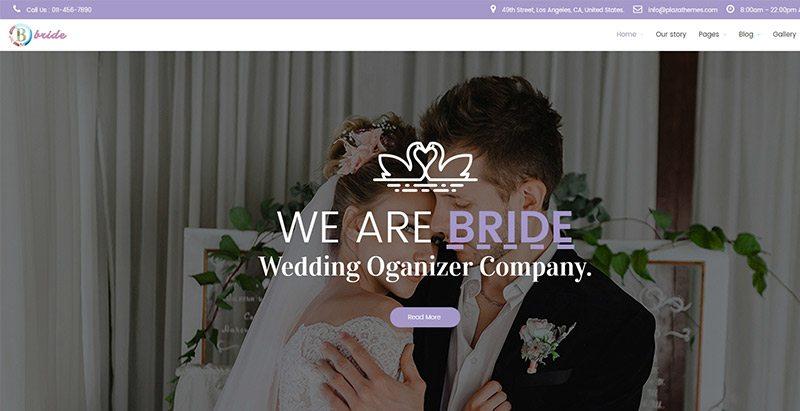 Bride themes wordpress creer site web mariage fiançailles évènements organisateur