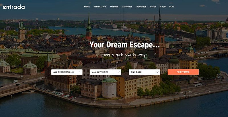 Entrada themes wordpress creer site web agence voyages tourisme hotel tour operateur