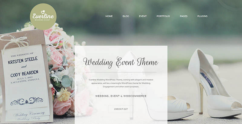 Everline themes wordpress creer site web mariage fiancailles epouse marie mariee