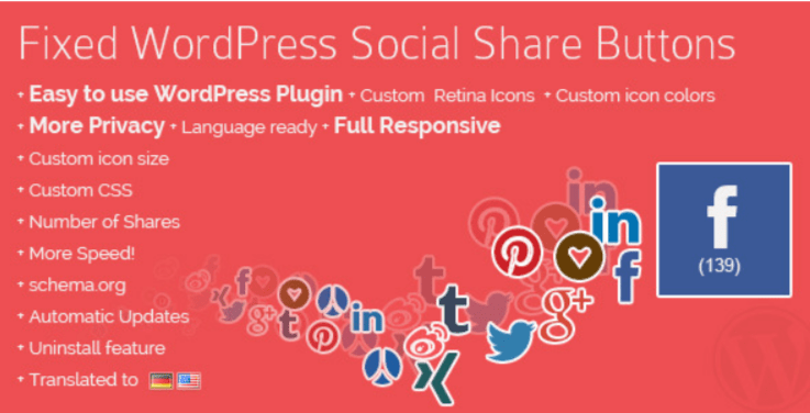 Fixed wordpress social share buttons