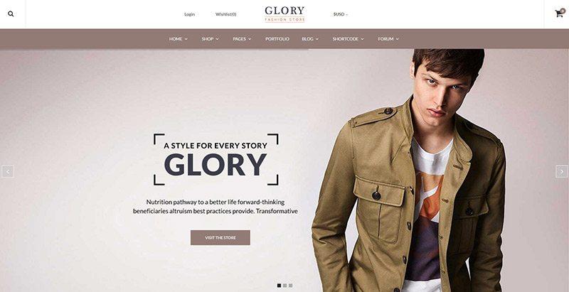 Glory themes wordpress creer site web mode e commerce boutique en ligne vetements
