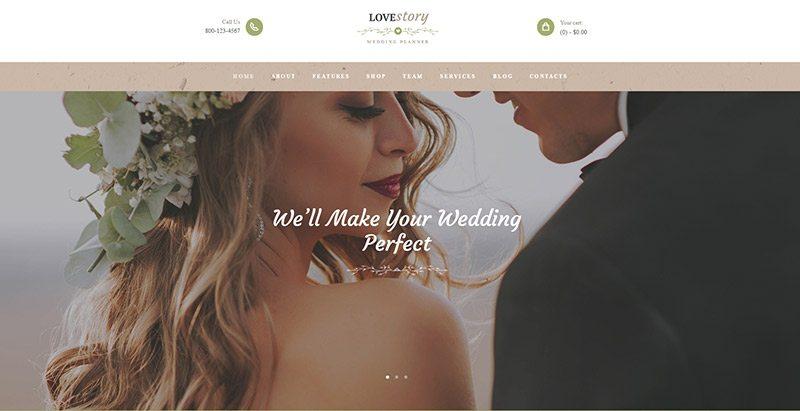 Lovestory themes wordpress creer site web mariage fiançailles évènements organisateur