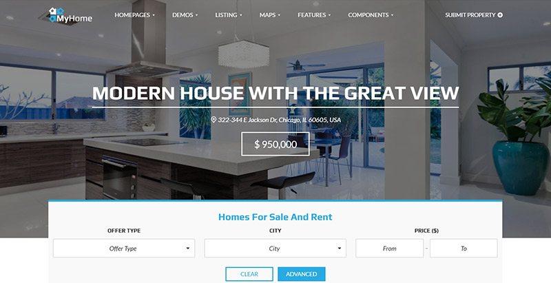 Myhome - meilleurs thèmes WordPress pour vendre des maisons