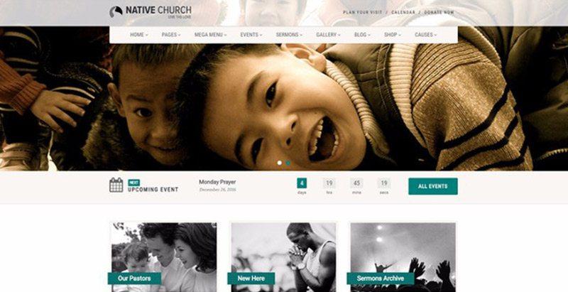 Native church themes wordpress creer site web evenements conference congres point de presse