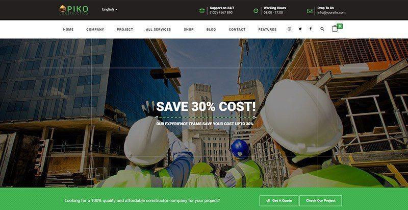 Pikocon themes wordpress creer site web entreprise construction vitrine societe