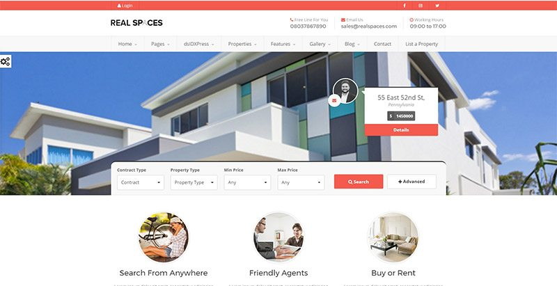 Realspaces themes wordpress creer site web agence immobiliere entreprise agent immobilier