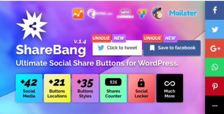 augmenter le nombre d'abonnés - Sharebang ultimate social share buttons for wordpress 1