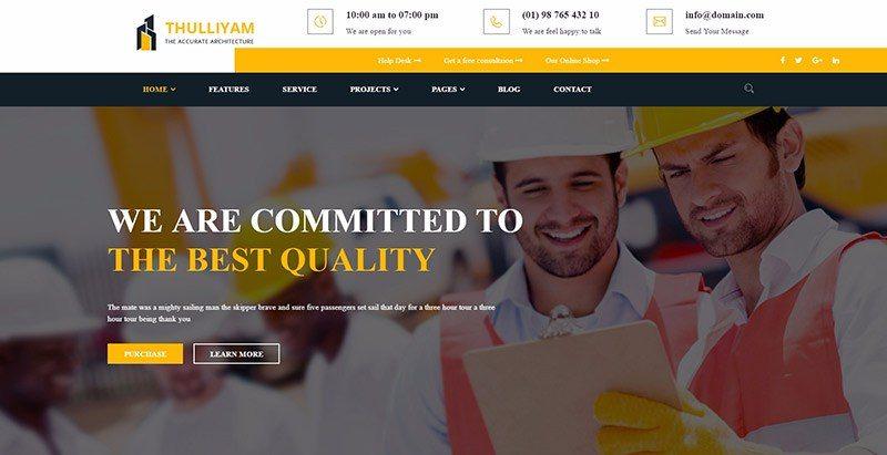 Thulliyam themes wordpress creer site web entreprise construction vitrine societe