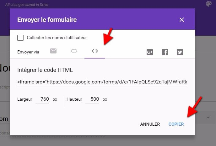 Code dintegration google forms wordpress