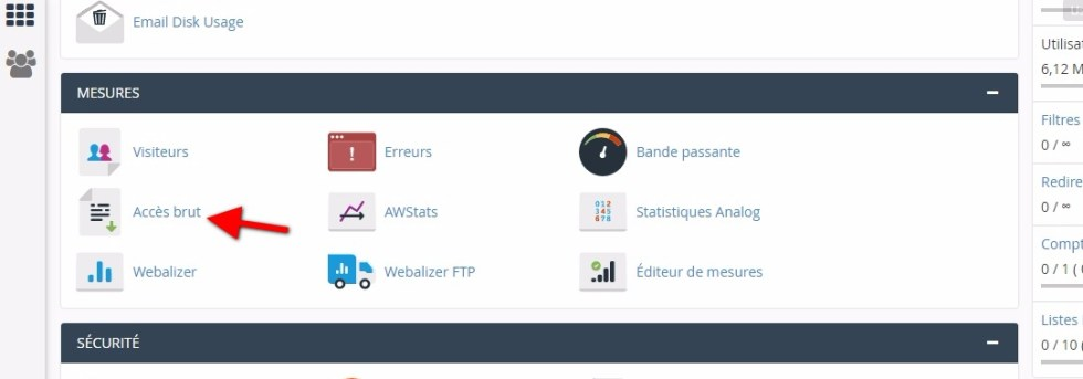 Journal daccess brut cpanel