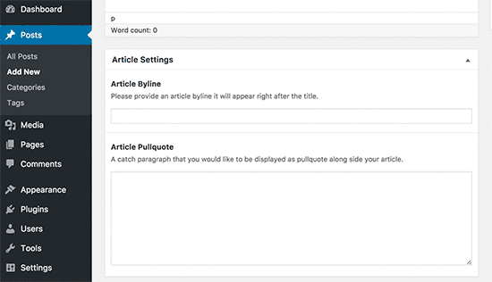 Section méta sur les articles wordpress tutoriel