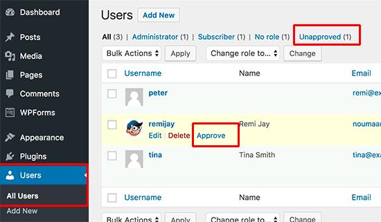 Utilisateurs non approuvé wordpress