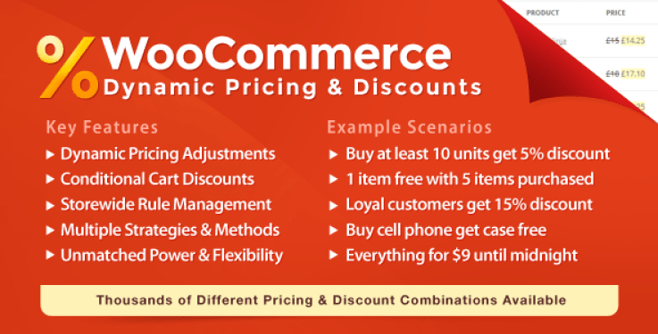 Wc dynamic pricing discounts plugin wordpress pour réduction