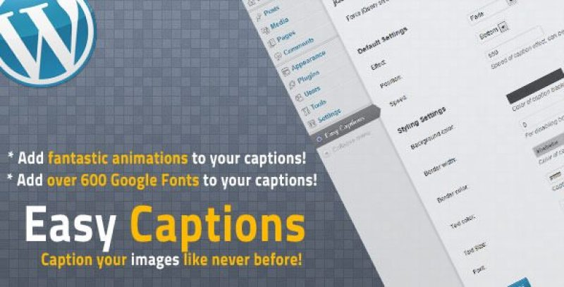 Wp easy captions plugin wordpress pour légendes