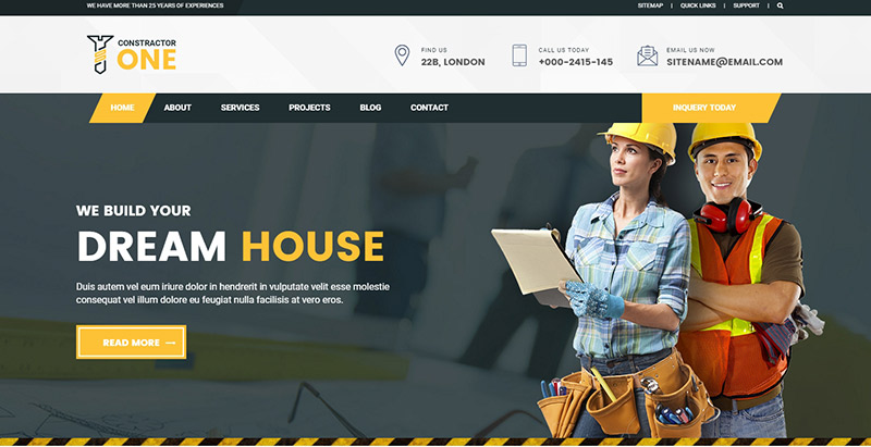 Constructorone Themes Wordpress Creer Site Web Entreprise Construction Architecture Decoration Interieure Renovation