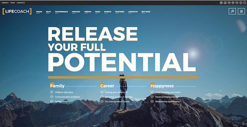 Life coach themes wordpress creer site web coach sante vie developpement personnel entreprise