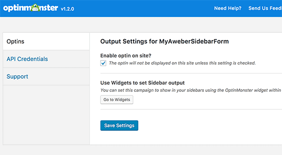 Configuration optin wordpress