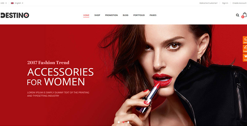 Destino themes wordpress creer site ecommerce mode fashion vetement chaussure lingerie