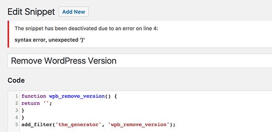 Erreur de syntaxe déectée