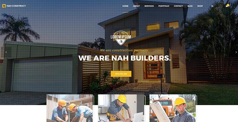 meilleurs thèmes WordPress de construction - Nah themes wordpress creer site web entreprise construction architecture decoration interieure renovation