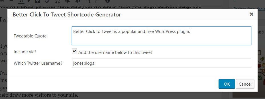 Better click to tweet generator popup 1