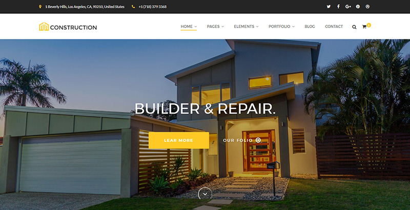Construction1 themes wordpress creer site internet entreprise construction renovation