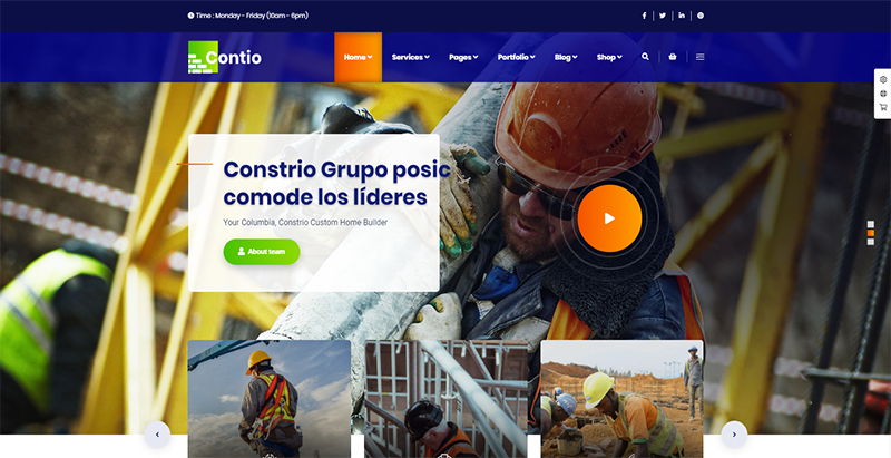 Contio theme wordpress creer site web entreprise construction