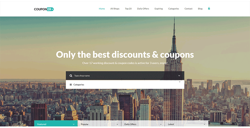 Couponer premium coupons and discounts wp theme