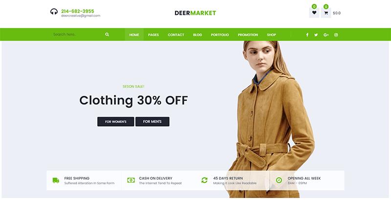 Deermarket themes wordpress creer site ecommerce boutique en ligne woocommerce