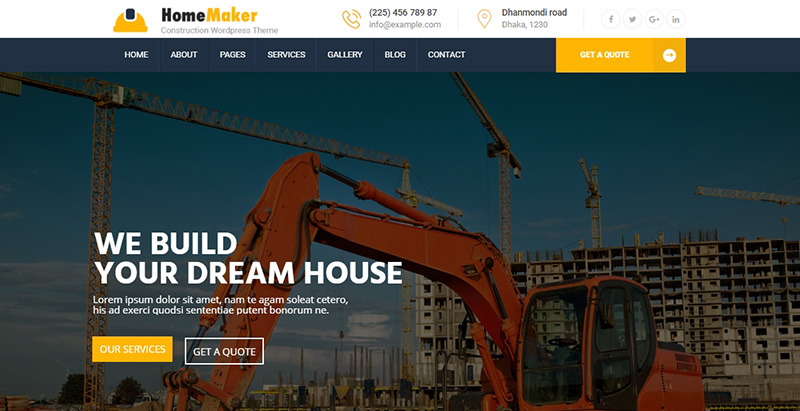 Homemaker themes wordpress creer site internet entreprise construction renovation