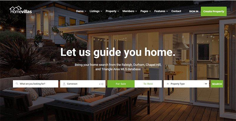 Homevillas themes wordpress creer site web vente biens immobiliers appartement studio villa