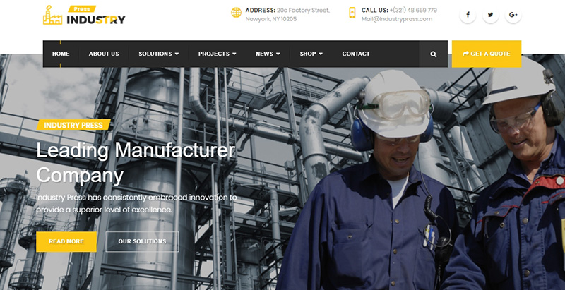Industry press themes wordpress creer site internet entreprise construction renovation