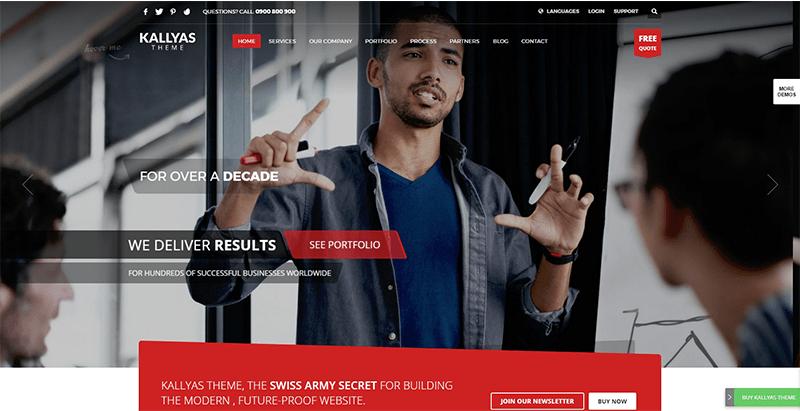Kallyas themes wordpress populaires creer site web entreprise ecommerce startup creative