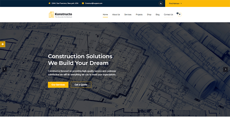 Konstructo theme wordpress creer site web entreprise construction