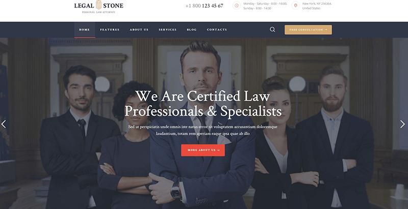 Legal stone themes wordpress creer site web cabinet avocat conseils juridique droit