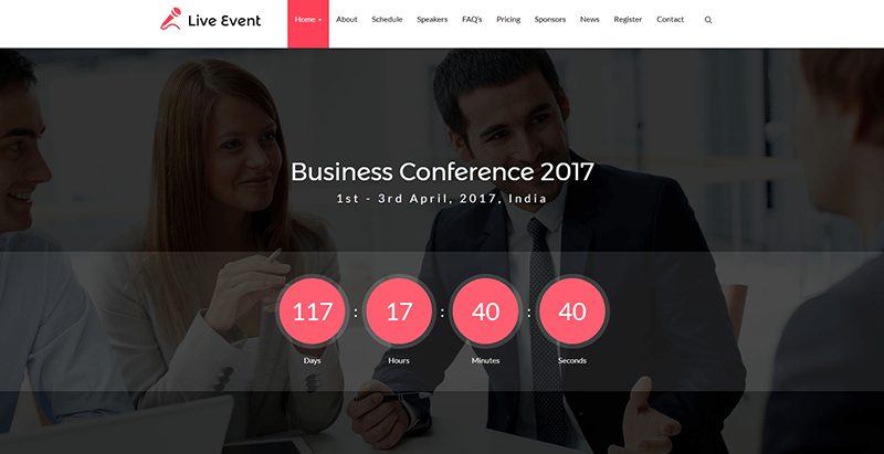 Live event themes wordpress creer site web evenement conference mariage seminaire