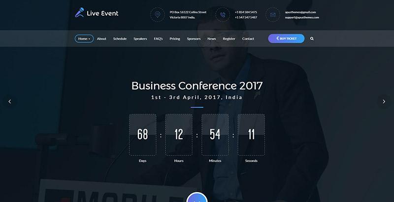 Live event themes wordpress look sombre creer site web creative ecommerce magazine entreprise