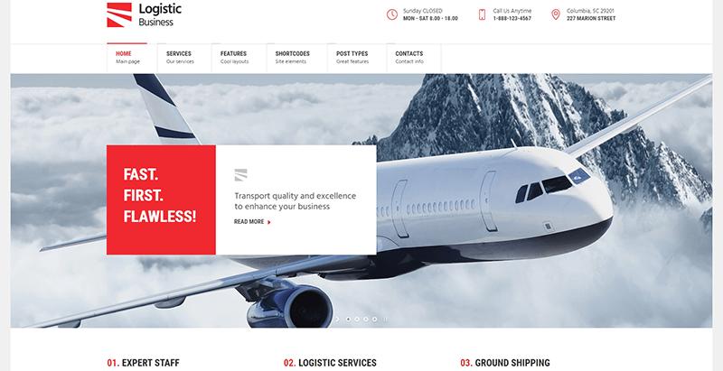 Logistic business themes wordpress creer site web entreprise transport fret logistique livraison expedition