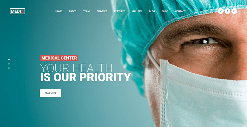 Medix themes wordpress creer site web clinique hopital centre sante dispensaire dentiste