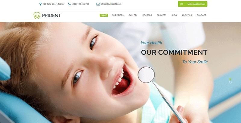 Prident themes wordpress creer site web clinique hopital centre sante dispensaire dentiste