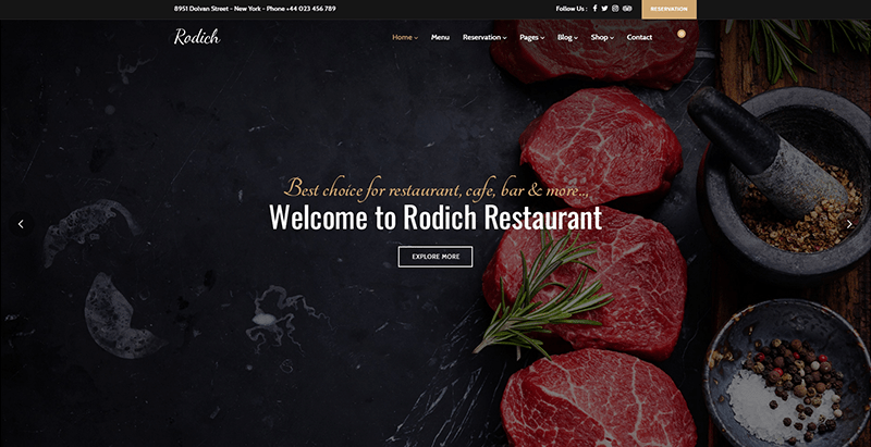 Rodich themes wordpress creer site web restaurant cuisine recettes