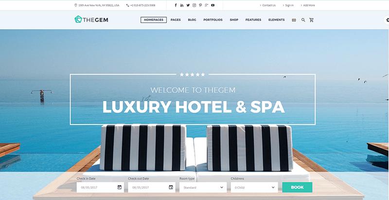 Thegem themes wordpress creer site web hotel motel auberge cite balneaire
