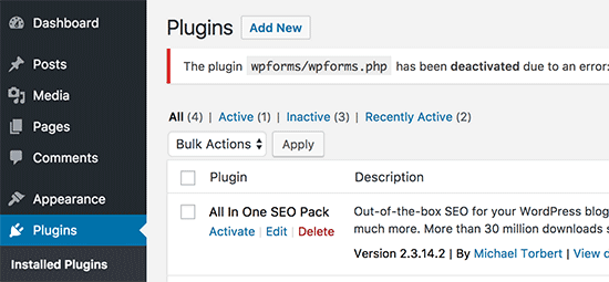 Plugin désactivé wordpress
