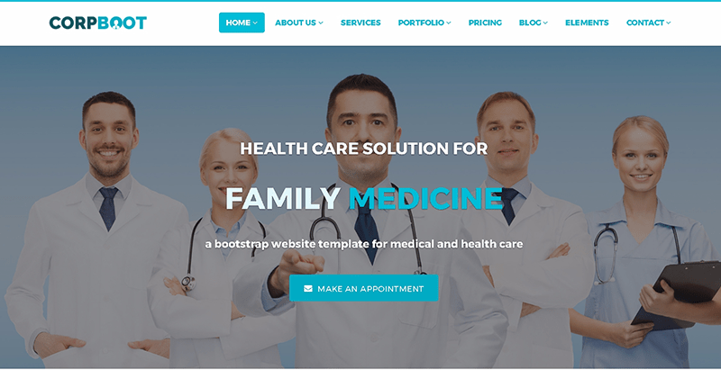 Corpboot themes wordpress creer site web clinique sante hopital