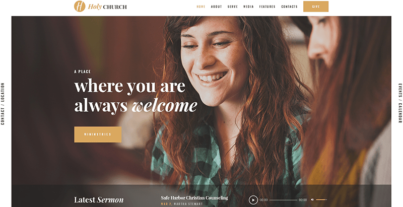 Holy church themes wordpress creer site web eglise groupe prière