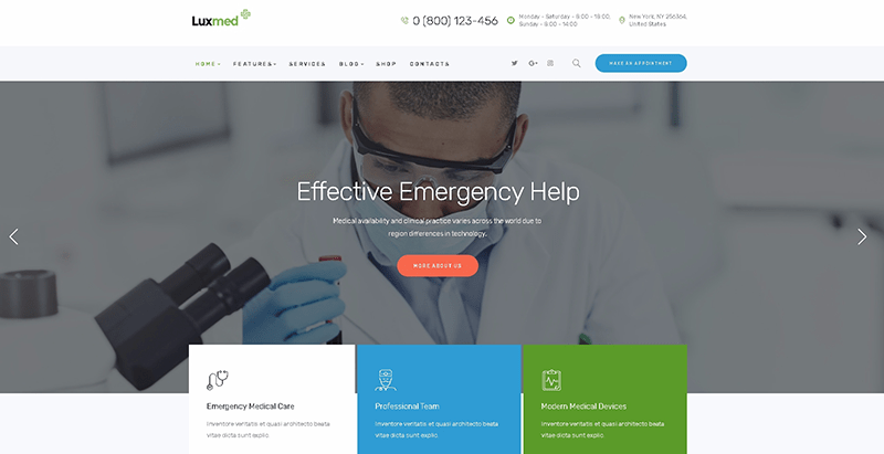 Luxmed themes wordpress creer site web clinique sante hopital