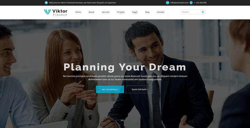 Viktor themes wordpress creer site web compagnie assurance assureur